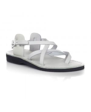 Sandale piele romane unisex model V albe