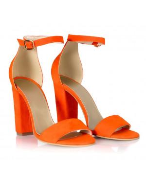 Sandale portocalii din piele Olivia L10 - sau Orice Culoare