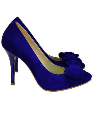 Pantofi Stiletto din piele intoarsa albastra D1-sau Orice Culoare