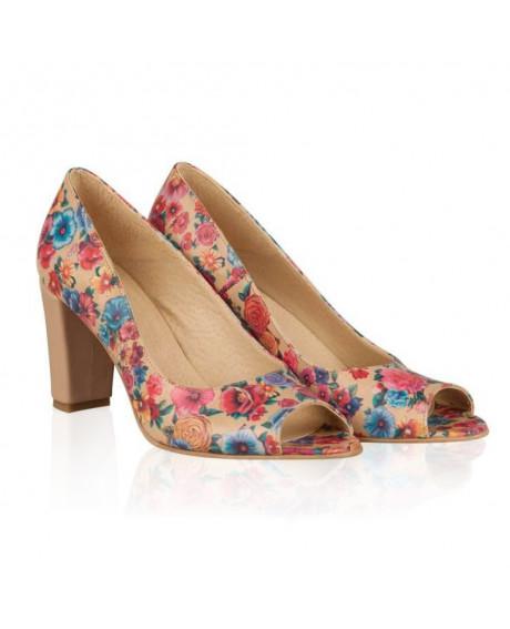 Pantofi piele imprimeu floral Valery N1 - sau Orice Culoare