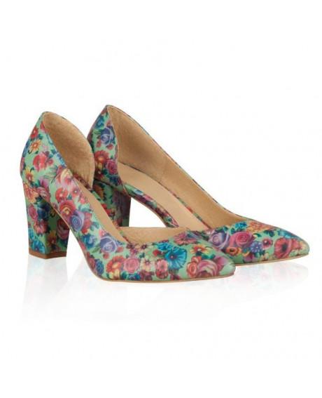 Pantofi piele imprimeu floral Mona N20 - sau Orice Culoare