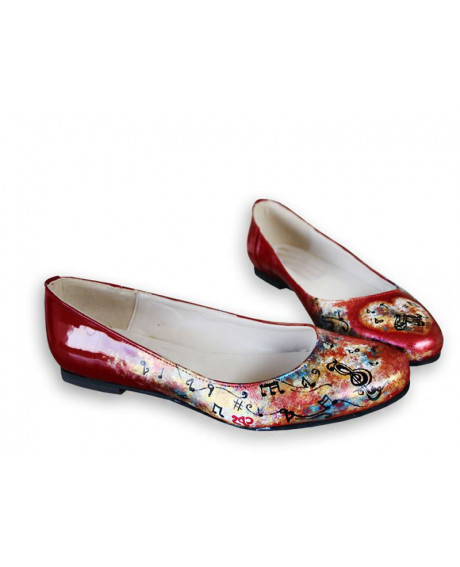 Balerini pictati manual Red Flowers-sau Orice Culoare