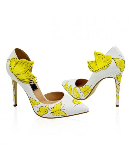 Pantofi piele pictati manual Feminity L51