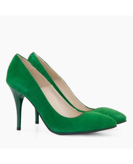 Pantofi piele intoarsa verde Vika D17  - sau Orice Culoare