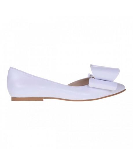 Balerini albi din piele naturala IVI S55