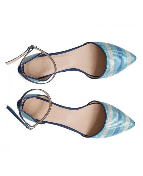 Balerini piele naturala blue Viorella D3 - sau Orice Culoare