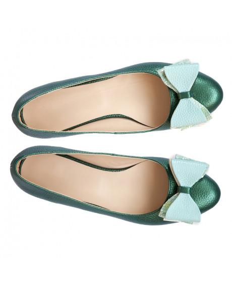 Balerini verzi din piele naturala Grace D15 - sau Orice Culoare
