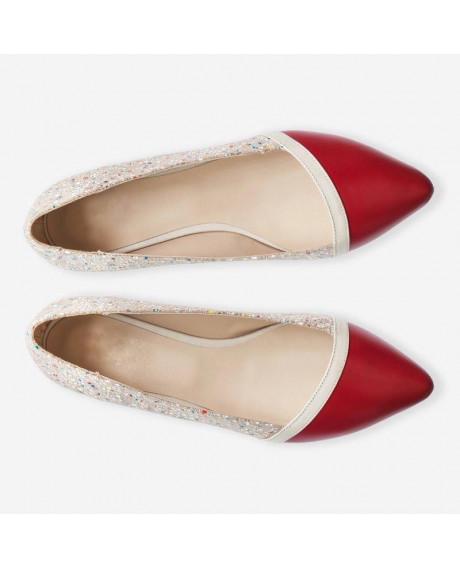Balerini rosii din piele naturala Marta D30 - sau Orice Culoare