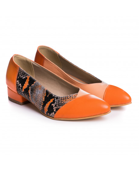 Balerini orange din piele naturala Jasmine V9