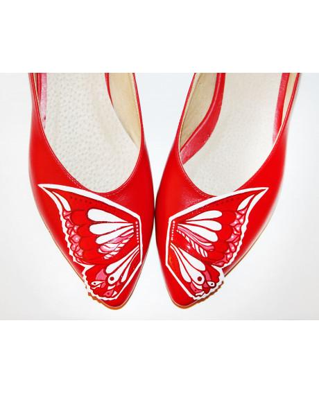 Balerini piele pictati manual Red Butterfly C303 - sau Orice Culoare