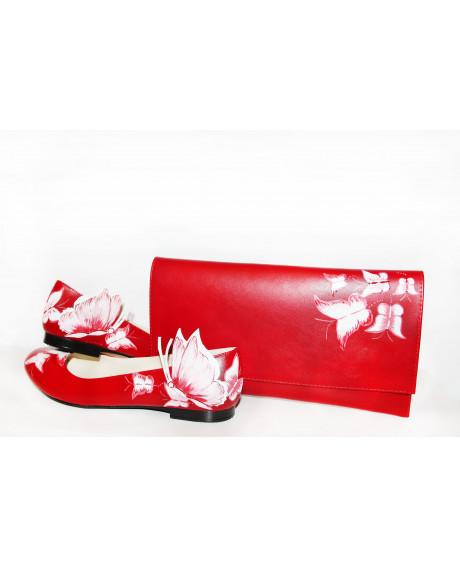 Balerini piele pictati manual Red Mix C200 - sau Orice Culoare