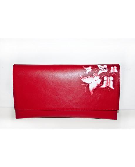 Plic piele pictat manual Red Mix C200 - sau Orice Culoare
