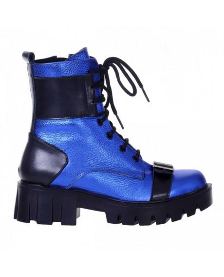 Bocanci din piele naturala albastra, Adora S100 - sau Orice Culoare