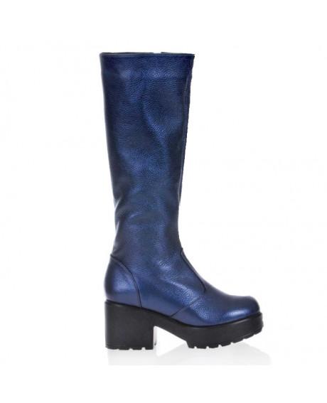 Cizme albastre din piele naturala Gloomy S17 - sau Orice Culoare