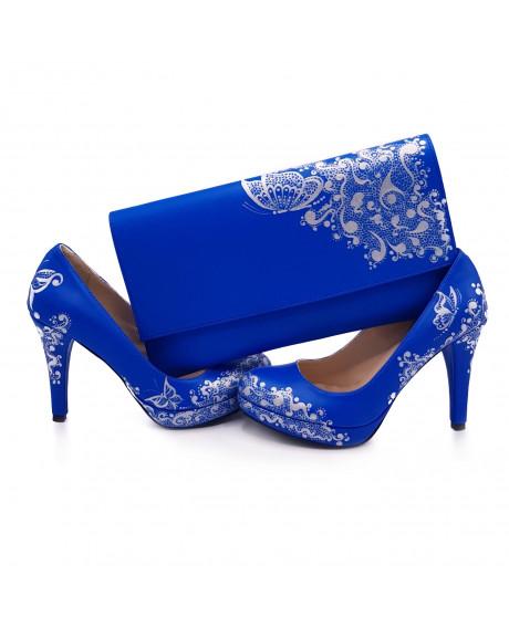 Pantofi piele pictati manual Blue Flower C109 - sau Orice Culoare