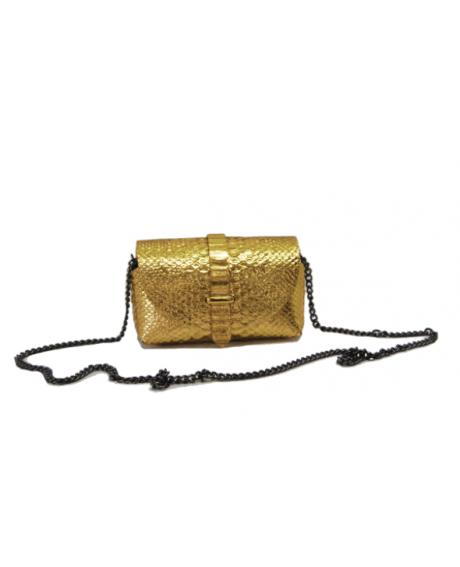 Geanta Chic din piele naturala sarpe auriu G44 - sau Orice Culoare