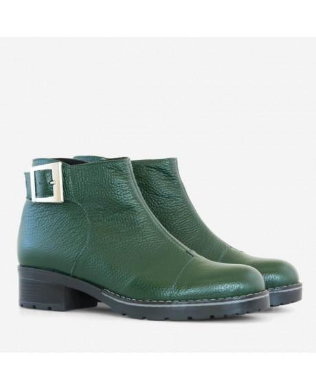 Ghete din piele naturala verde Dely D50 - sau Orice Culoare