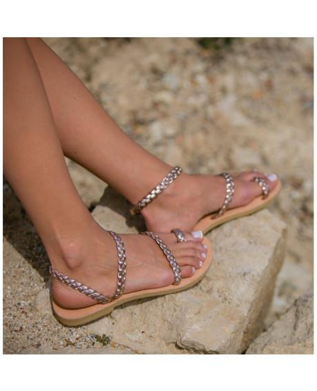 Sandale piele Model Impletit, aurii