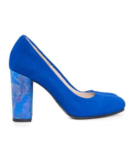 Pantofi piele albastra Minerva D09 - sau Orice Culoare