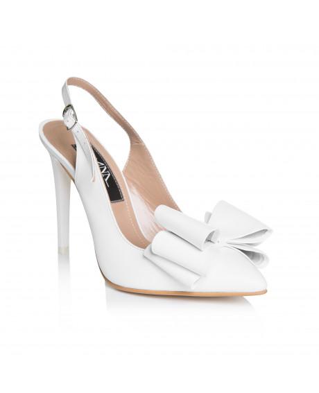 Pantofi albi din piele naturala Stiletto Celia L9