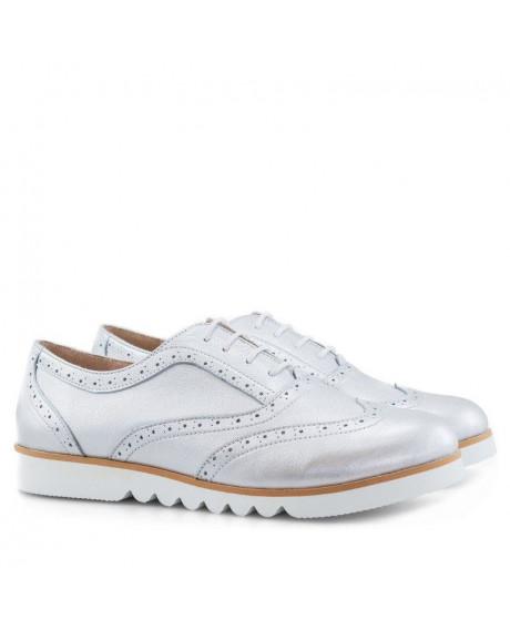 Pantofi piele Oxford Iris Argintii D10 - sau Orice Culoare