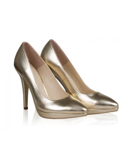 Pantofi Stiletto auriu din piele naturala Magic N79 - sau Orice Culoare