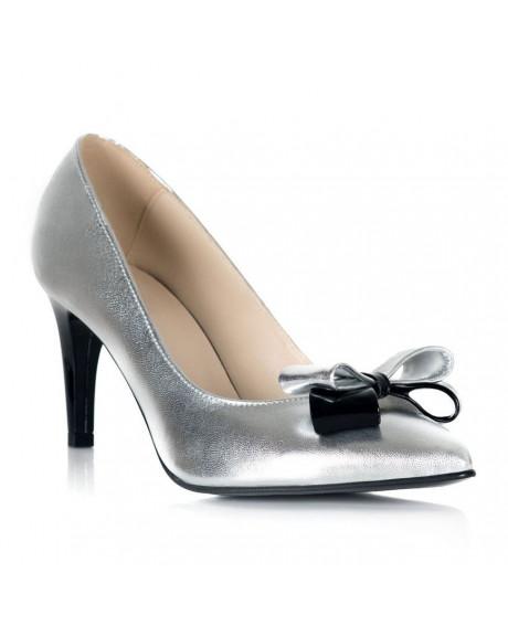 Pantofi argintii cu funda Stiletto Chic S12