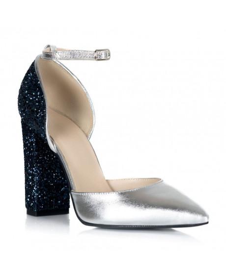 Pantofi argintii din piele naturala Edria S105