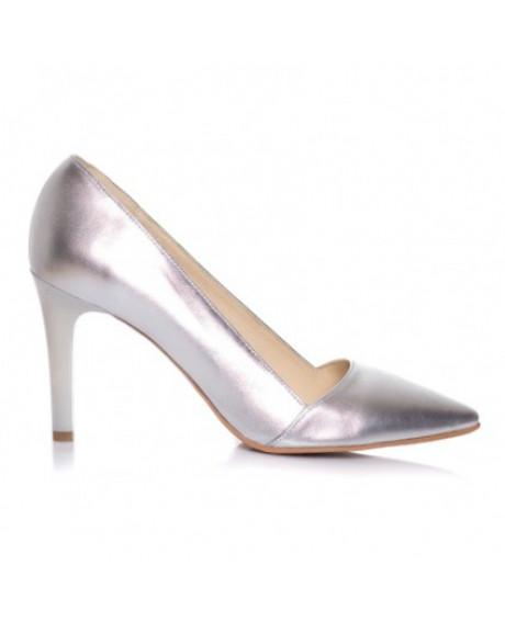 Pantofi argintii din piele naturala Sara L7 - sau Orice Culoare