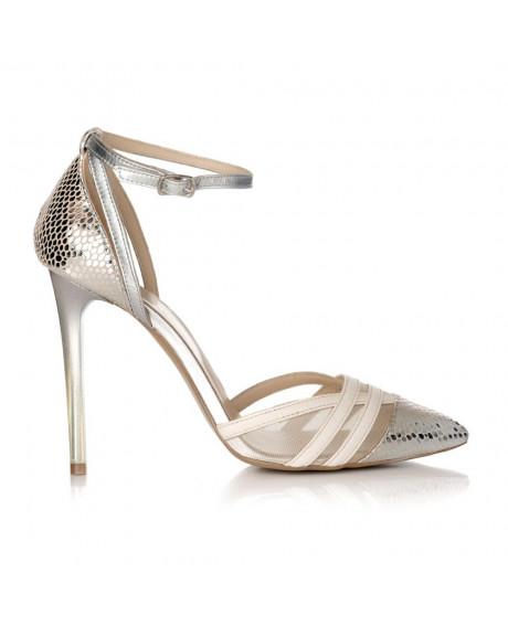 Pantofi argintii din piele naturala Sara S31