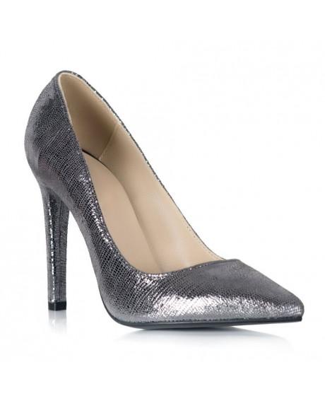 Pantofi gri din piele naturala Marissa S105 - sau Orice Culoare