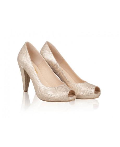Pantofi aurii din piele naturala Caro N118 - sau Orice Culoare