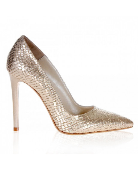 Pantofi Stiletto auriu sarpe Lucy S107 - sau Orice Culoare