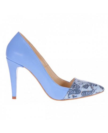 Pantofi piele naturala Medeea, bleu S80 - sau Orice Culoare