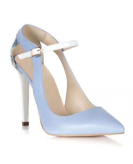 Pantofi blue Arina din piele naturala S103 - sau Orice Culoare