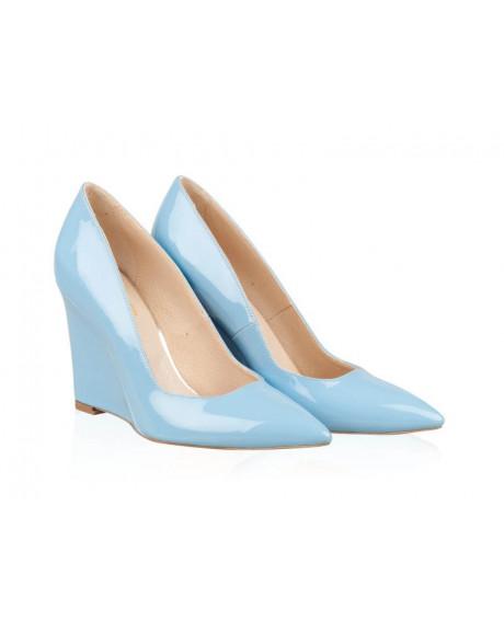 Pantofi bleu din piele lacuita Celia N109 - sau Orice Culoare