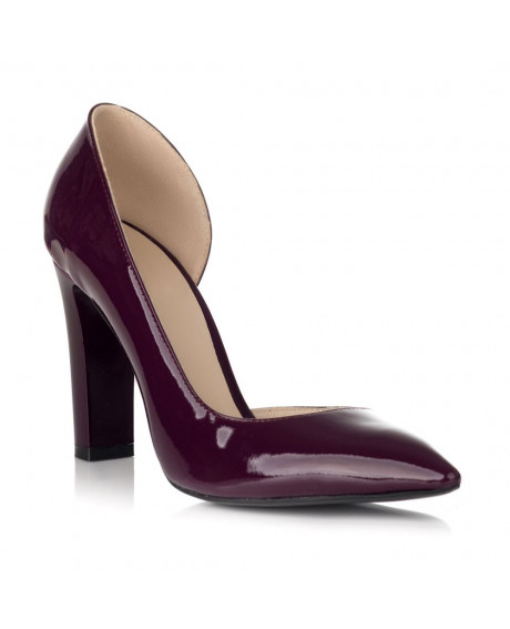 Pantofi bordo din piele lacuita Glam decupat S25