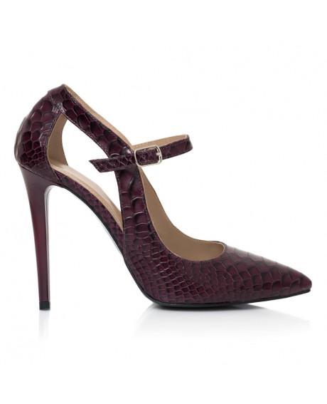 Pantofi bordo din piele naturala Siera L31 - sau Orice Culoare
