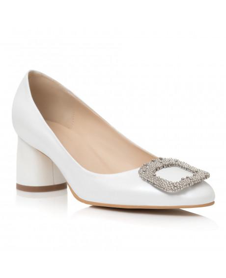 Pantofi Carma albi din piele naturala C99