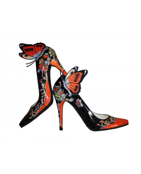 Pantofi pictati manual Butterfly - Colectia CDS-sau Orice Culoare