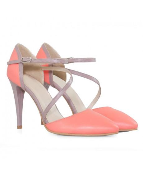 Pantofi corai din piele naturala Eva D11 - sau Orice Culoare
