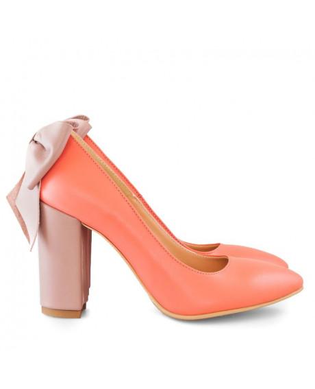 Pantofi corai din piele naturala Liv D2