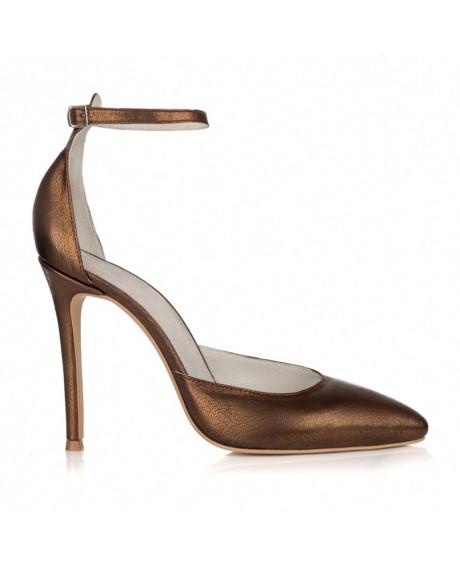 Pantofi piele naturala cu bareta Lary aramii L100