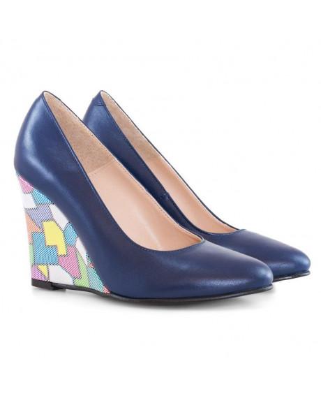 Pantofi cu toc ortopedic Naty bleumarin D12 - sau Orice Culoare
