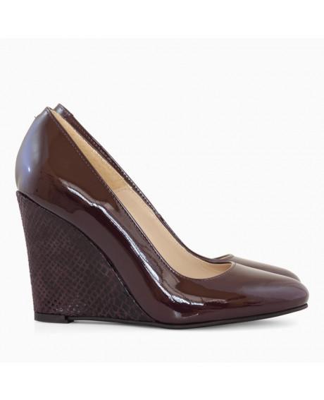 Pantofi cu toc ortopedic Naty bordo lac D101 - sau Orice Culoare