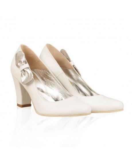 Pantofi dama Elisa alb/argintiu N15