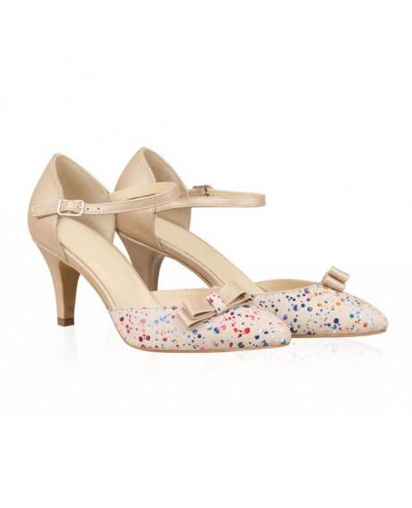 Pantofi dama Violeta nude/multicolor N55