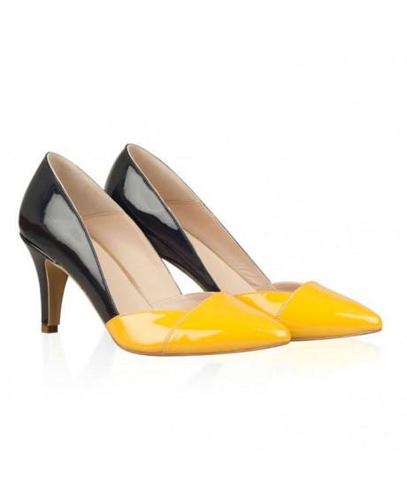 Pantofi Stilettos Lilian Negru/Galben - AF N30