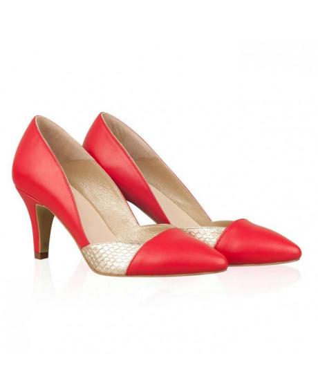 Pantofi Stilettos Lilian Rosu/Auriu - AF N40