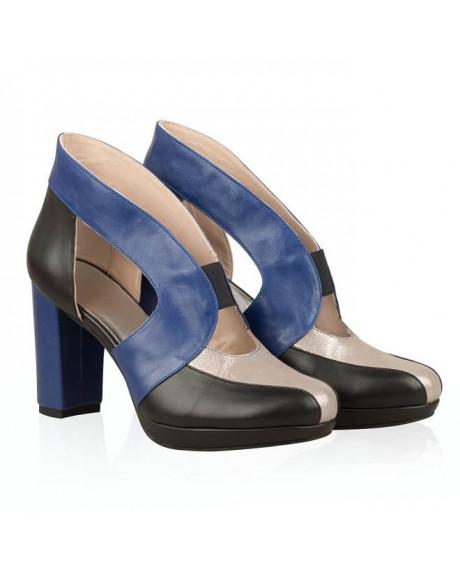 Pantofi Penelope din piele naturala bleumarin N2 - sau Orice Culoare